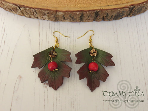 Autumn Hawthorn Leaf Earrings with Berries