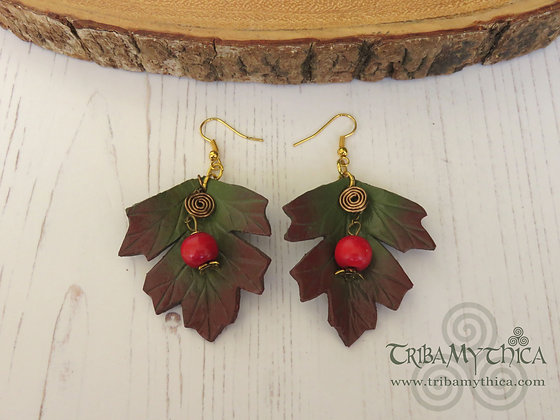 RESERVED Autumn Hawthorn Leaf Earrings with Berries