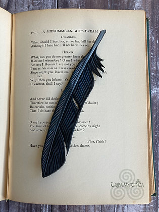Raven Feather Luxury Leather Bookmark