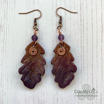 Winter Oak Leaf Earrings