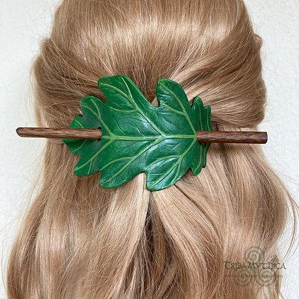 Green Oak Leaf Leather Hair Barrette