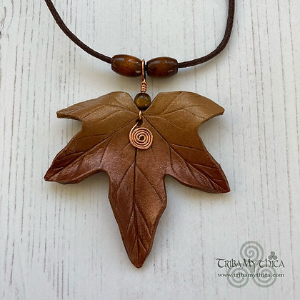 Copper and Gold Maple Leaf Necklace