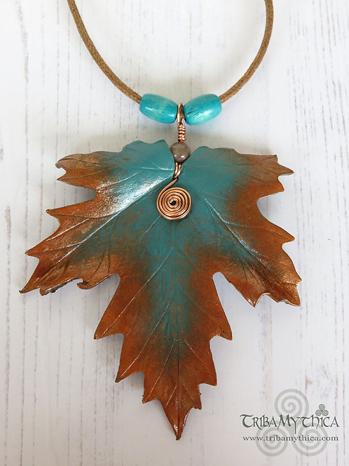 Large Copper and Teal Maple Leaf Necklace