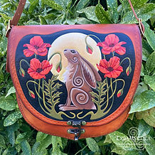 Leather Bag Moon Hare Poppies