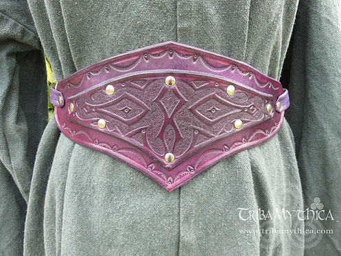 Purple Leather Belt with hand tooled design