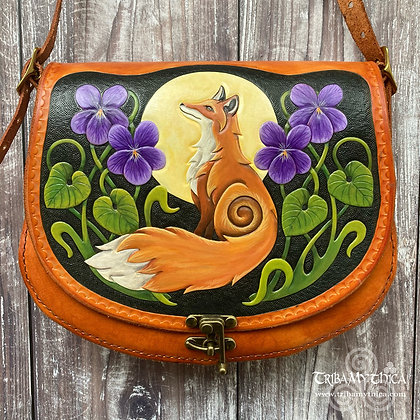 Large Fox and Violets Leather Bag