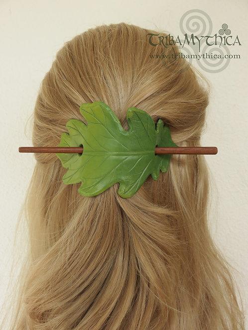 Light Green Oak Leaf - Leather Hair Barrette