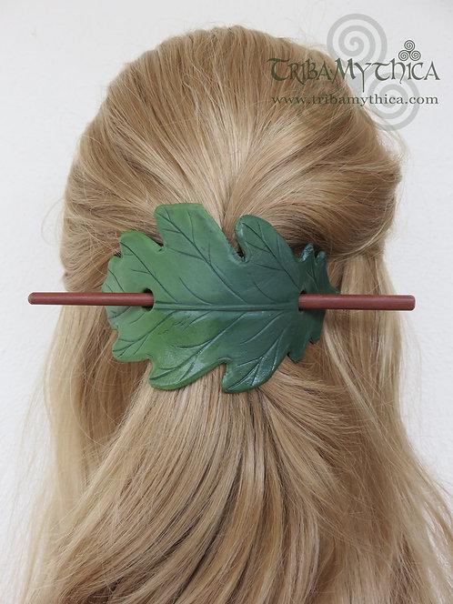 Dark Green Oak Leaf - Leather Hair Barrette