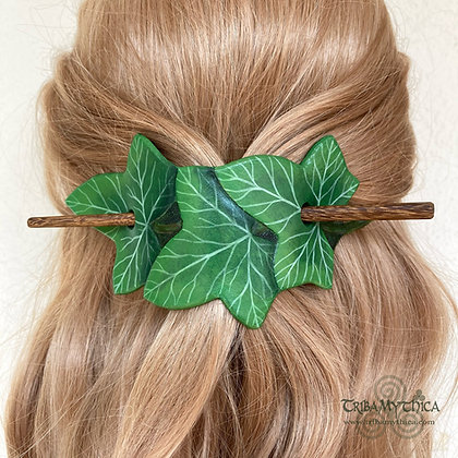 Green Ivy Leaves - Leather Hair Barrette