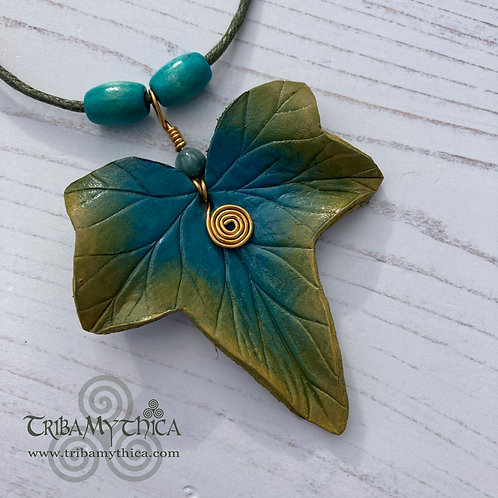 Turquoise and Green Ivy Leaf Necklace