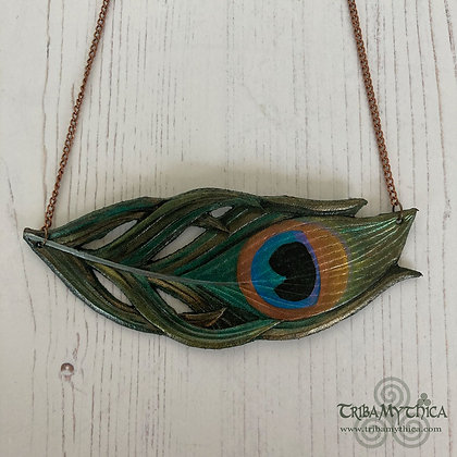 Large Peacock Feather - Leather Necklace