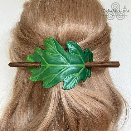 Green Oak Leaf Leather Hair Barrette