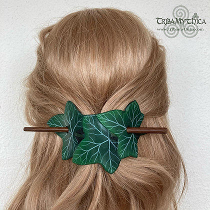 Dark Green Ivy Leaves - Leather Hair Barrette
