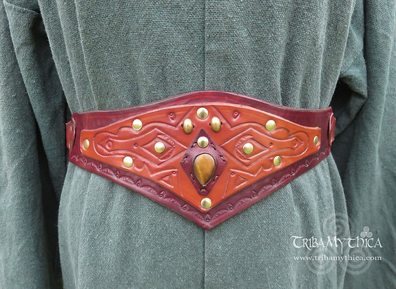 Wood Nymph Brown Leather Belt with Tigers Eye