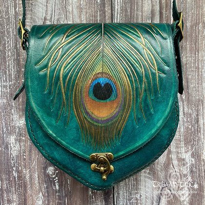 Small Peacock Feather Leather Bag