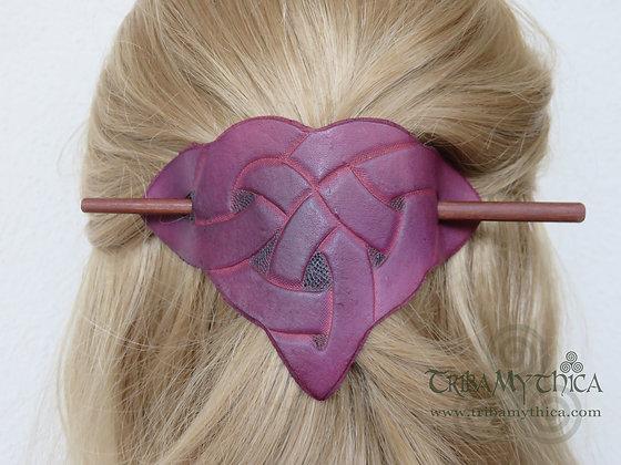Purple Celtic Knot - Leather Hair Barrette