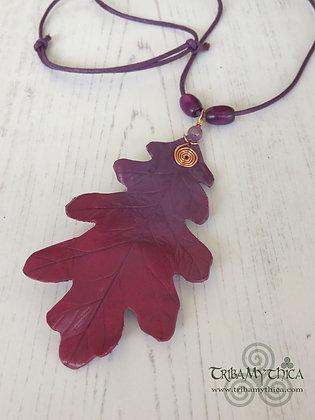 Large Oak Leaf Necklace - Purple