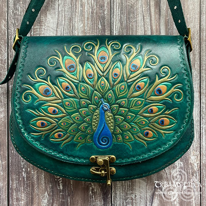 Large Peacock Leather Bag