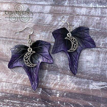 Purple Ivy Moon Earrings