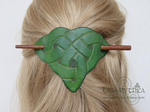 Green Celtic Knot - Leather Hair Barrette