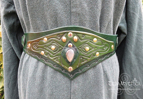 Forest Fae Green Leather Belt with Labradorite