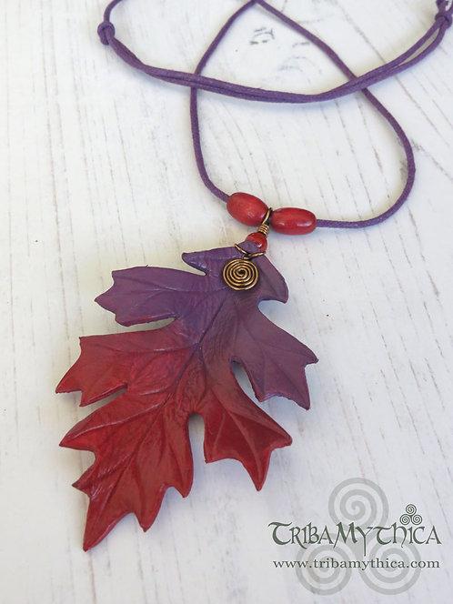 Spiky Oak Leaf Necklace ~ Red & Purple