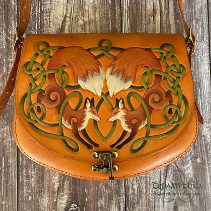 Celtic Foxes - Large Leather Bag