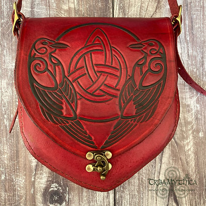 Celtic Ravens - Small Leather Bag