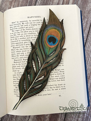 Peacock Feather Luxury Leather Bookmark
