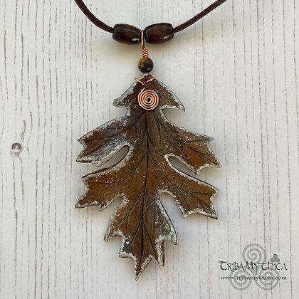 Frosted Oak Leaf Necklace