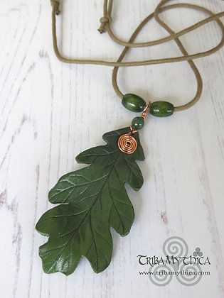 Small Green Oak Leaf Necklace - Copper