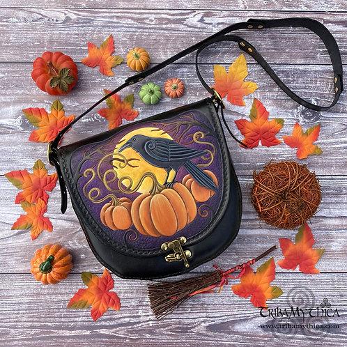 Crow and Pumpkins Leather Bag