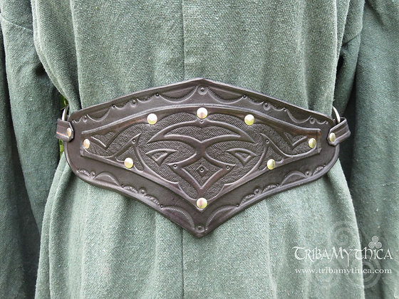 Black Leather Belt with hand tooled design