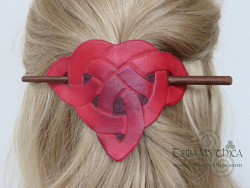 Red Celtic Knot - Leather Hair Barrette