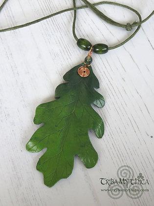 Large Green Oak Leaf Necklace - Copper