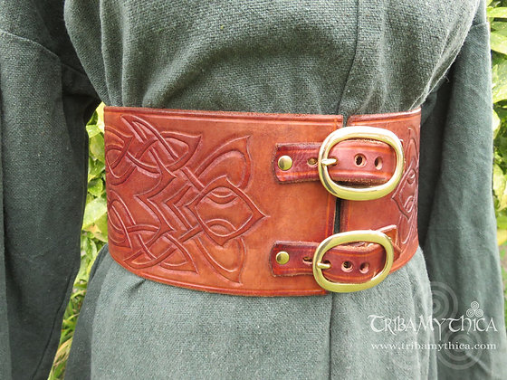 Celtic Warrior Leather Belt with hand tooled design