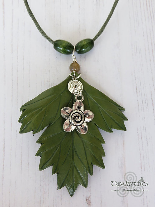 Hawthorn Leaf Necklace with flower charm