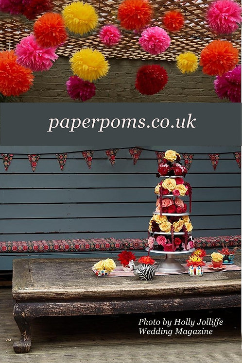 "100 x large 14"" paper poms you choose colour"