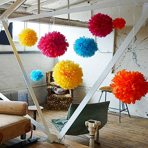 40 mix of Cluster poms : mix of sizes
