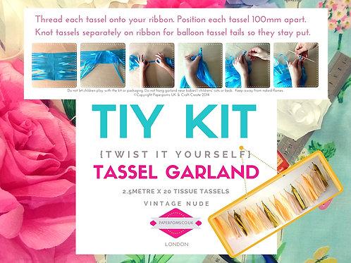 NEW DIY Tissue paper tassel Kits Vintage Nude