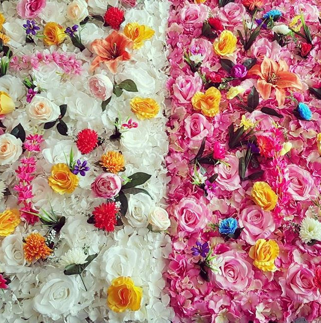 Pink and white multi colour flowerwall