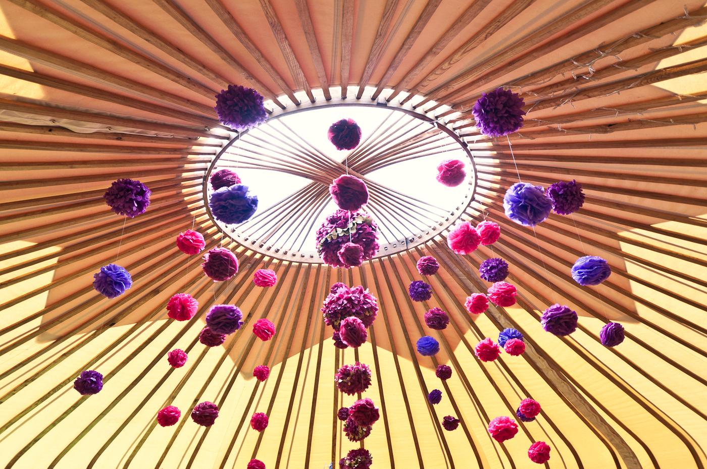 Wedding yurt poms