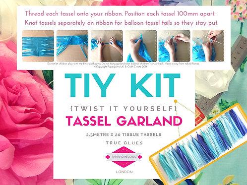 20 NEW DIY Tissue paper tassel Kits True Blue