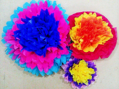Mexican Paper Flowers set of 8