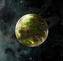 Chlorinated Planet with a ring system of coal, Andomeda Galaxy