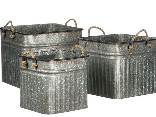 Galvanized Planters/Containers - Set of 3