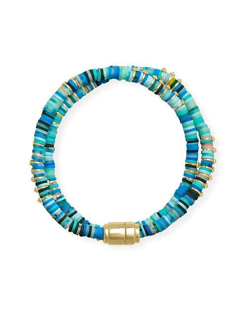Reece Gold Wrap Bracelet In Sea Green Mix