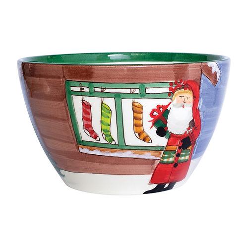 Old St. Nick Large Deep Bowl - Santa w/ Stockings