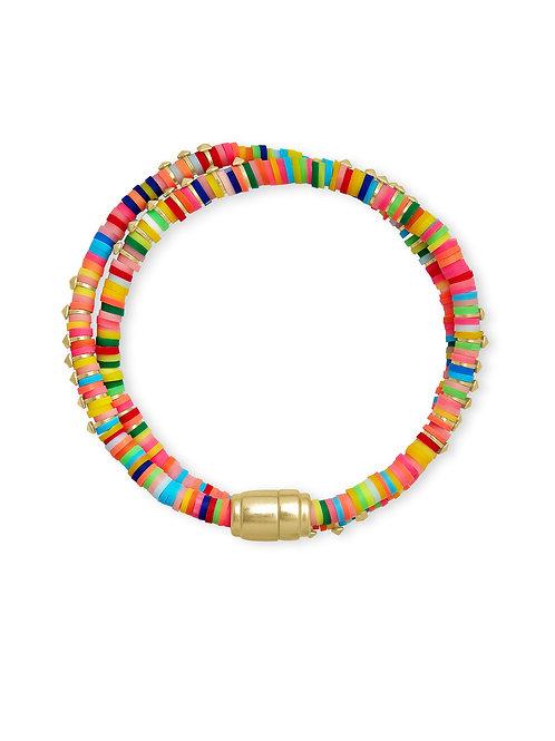 Reece Gold Wrap Bracelet In Neon Mix