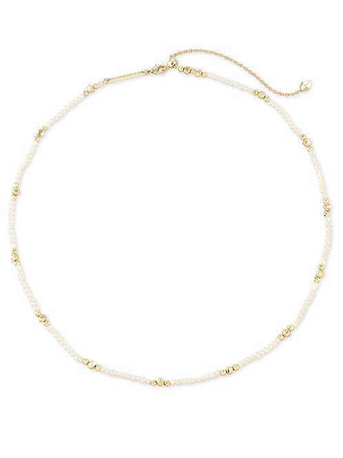 Scarlet Gold Collar Necklace - White Pearl